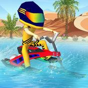 moto冲浪者蹒跚学步 - 3d moto冲浪者孩子赛跑