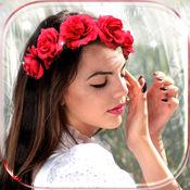 鲜花皇冠 发型女 - 浪漫 剪发 现代 女孩 时装 工作室, 头发造型 女生长发, 美容院照片编辑