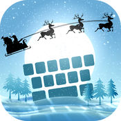 冬季 键盘 主题 同 圣诞 背景 装饰品, 字形 和 表情符号