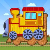 适于幼儿的火车和交通工具拼图