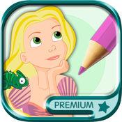 长发公主涂色儿童画画游戏(3-6岁宝宝早教绘画涂手简书涂鸦