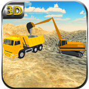 砂运输车和挖掘...