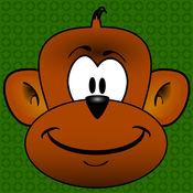有趣的跳线猴子吃水果游戏的孩子