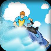 快艇 - 极度崩溃和恐慌在蓝色的海水