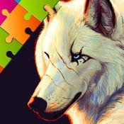 狼 拼圖, 拖動 和 下降 難題 對於 孩子們
