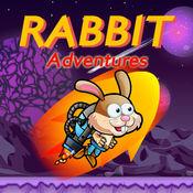 可爱的兔子喷气机包飞行空间冒险
