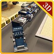 警车转运卡车 - 驾驶货车及交付车辆的警察 1