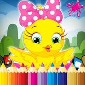 动物着色书游戏的孩子2至7岁