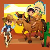 牛仔与印第安人儿童游戏:填色书和阴影婴儿益智儿童年龄2〜5