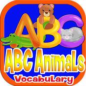 ABC动物词汇为小孩和孩子