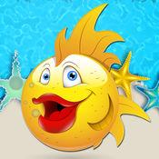 魚滑世界的益智遊戲的孩子。