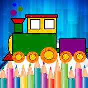火车为孩子们游戏的图画书。