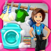 女孩洗衣店洗衣...