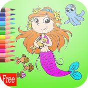 游戏人鱼公主着色书艺术垫:为小孩容易涂装 1
