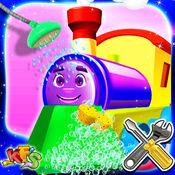 儿童训练清洗和修复 - 修复在这个机械车库游戏的孩子机车