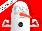 雪人贴纸表情符号三维动画表情图释表情符号表情新的一年