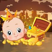 调皮小孩富翁梦 - 小孩找金币做富翁