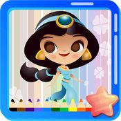 公主着色页绘制动漫原宿风格