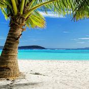 美丽的海滩和美丽的夕阳壁纸背景:度假天堂版 免费