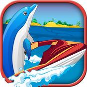 海豚喷气滑雪运行 - 玩转波冲浪骑士 免费
