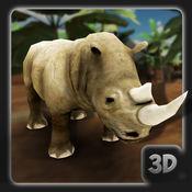 3D愤怒的犀牛模...