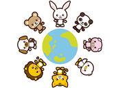 可爱的动物插图贴纸