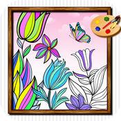 填色美丽的花朵HD