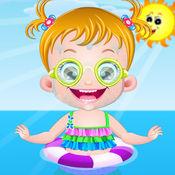 宝贝在海边玩耍
