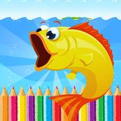 海洋动物图画书 - 所有在1深海动物画涂料和彩页游戏的孩子
