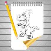 填色本 和 画 恐龙 上 素描线 1