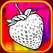 果实着色书柔和的蜡笔草莓和菠萝秀 1.0.0