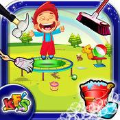 游乐场清洗和冲洗 - 清理和修复凌乱的孩子园区