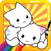 小猫着色页Kitty的工程图基础铅笔可愛的小貓