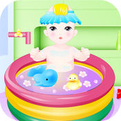 可爱宝宝洗澡游...