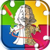 故事 的 基督教 圣经 著色遊戲 和 耶稣 基督 卡通拼图