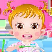 可爱宝贝刷牙洗脸
