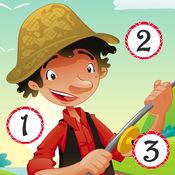 儿童年龄 2-5 对钓鱼的 123 游戏: 学数数 数字 1-10 的海、 水、 鱼、 费希尔和钓鱼竿。幼儿园、 学前班或幼儿园