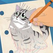 如何画猫和小猫容易 2.4
