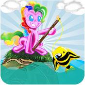 小麒麟钓鱼游戏为孩子 - 小马和龟船