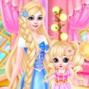 长发公主和婴儿宝贝艾尔莎化妆水疗中心-女孩免费游戏