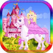 公主 填色本 对于 女孩 馬兒童 學習 油漆和顏色的 1.1.3
