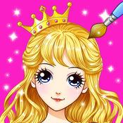 公主涂色秀—女生填色涂鸦画画板秘密花园儿童游戏