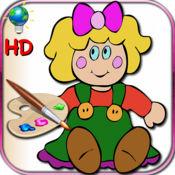 着色书的小女孩 - 彩页与经典的娃娃,日本和俄罗斯 HD