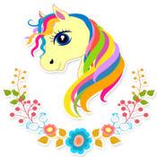 涂色游戏水晶小馬駒 可愛的獨角獸著色頁女孩