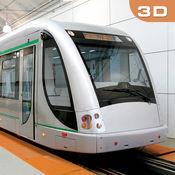 行驶在城市地铁列车辛3D