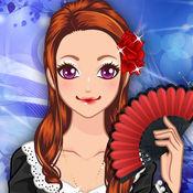 西班牙女孩 — — 弗拉门戈舞在美容美发化妆