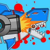机器枪鲨鱼双重进攻 双人游戏