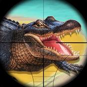 饥饿的鳄鱼狩猎 ...
