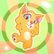 可爱的猫跳跳跃和飞行游戏- 在橡皮糖世界糖果凯蒂猫的冒险