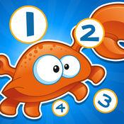 儿童游戏2-5岁左右的海洋鱼类:学会数数1-10幼儿园,学前班或